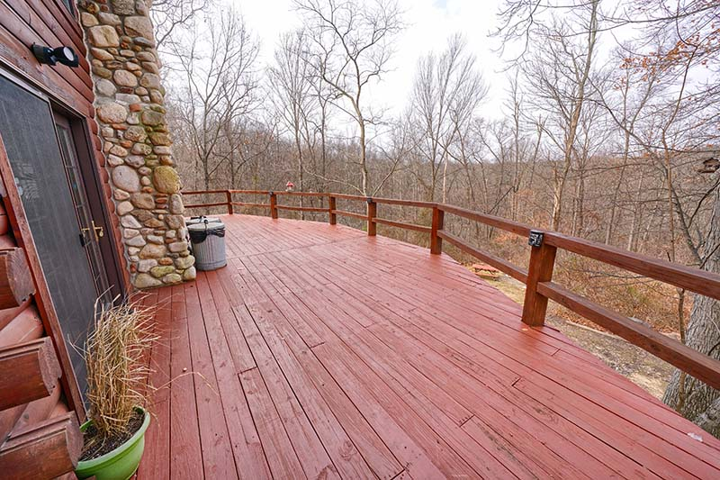 wrapped deck, open view of woods