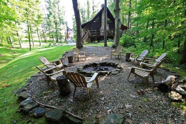 fire pit, outside cabin area, seating and firepit