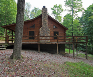 side view of log cabin with wrap around deck and side view of stone fireplace