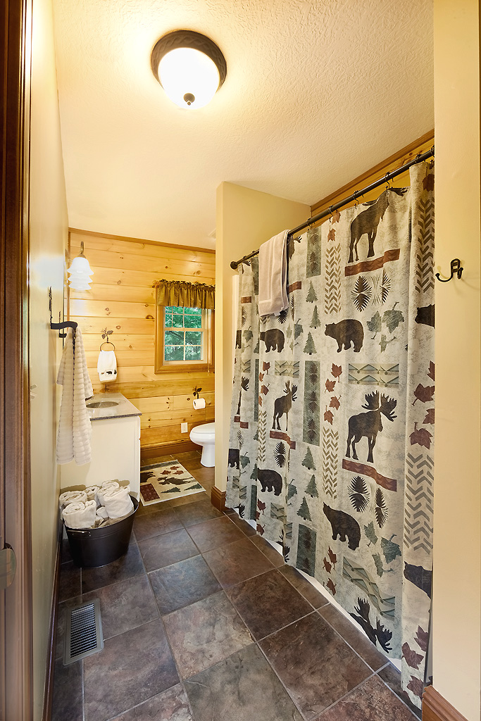 bathroom, shower curtain, sink, toliet