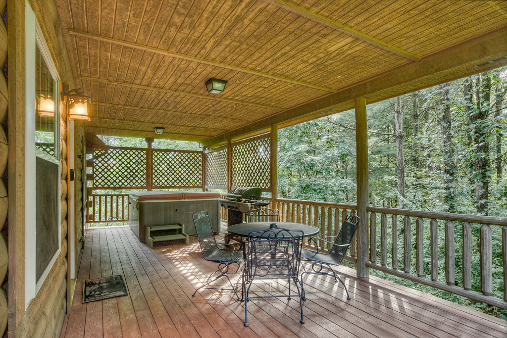 deck, opens to wooded area, jacuzzi