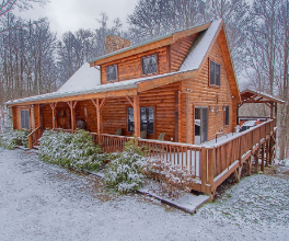 lodge with snow outwide