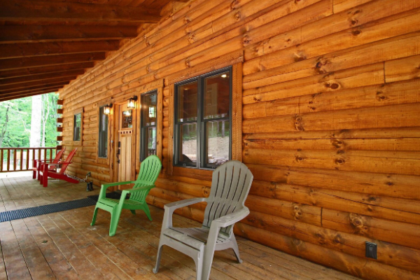 adirondack chairs on front covered deck