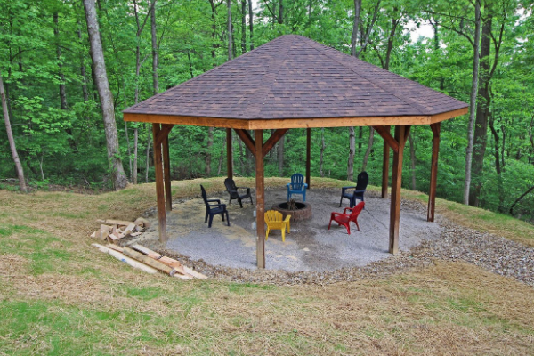 covered gazebo with outdoor fire pit